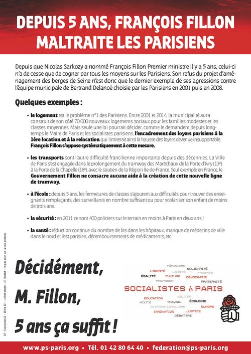Depuis 5 ans, François Fillon maltraite les Parisiens